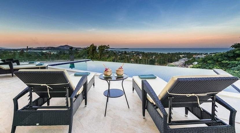 Villa vue mer Chaweng à Koh Samui à vendre – 3 chambres – piscine